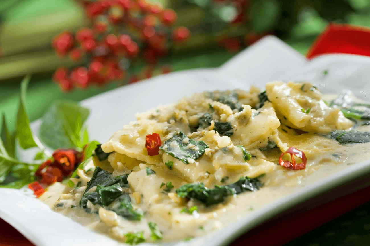 ravioli with spinach